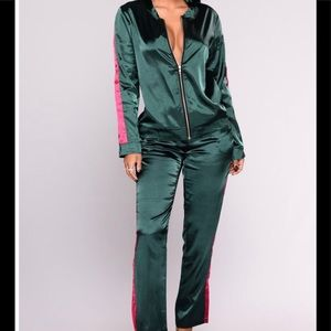 Fashion Nova Satin 2pc Set Green w/ red stripes